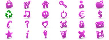 Collection of different icons. 3D Illustration.