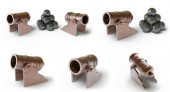 Collection of cannons. 3D Illustration.