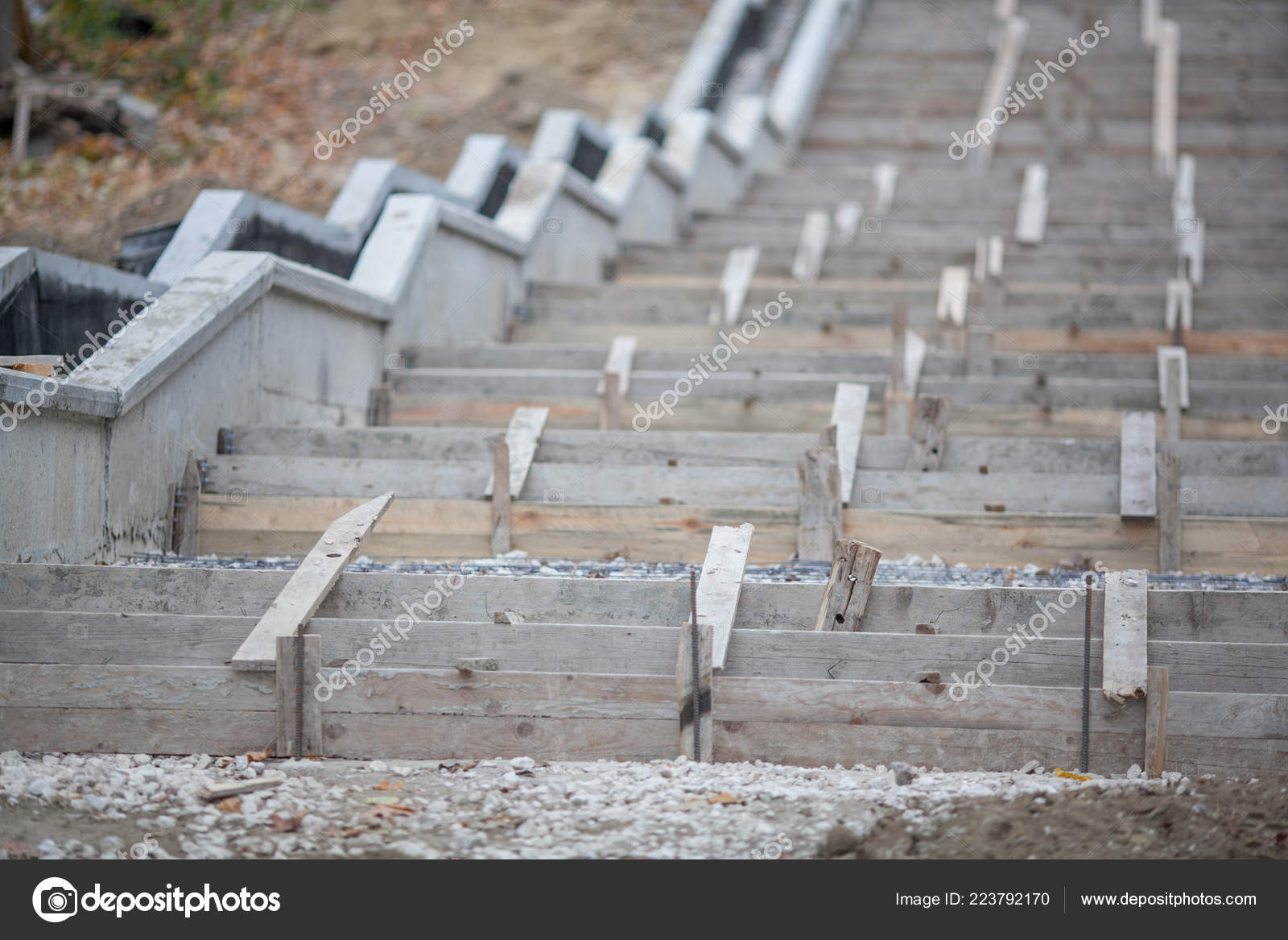 Construction Stairs Wooden Formwork Concrete Staircase Construction