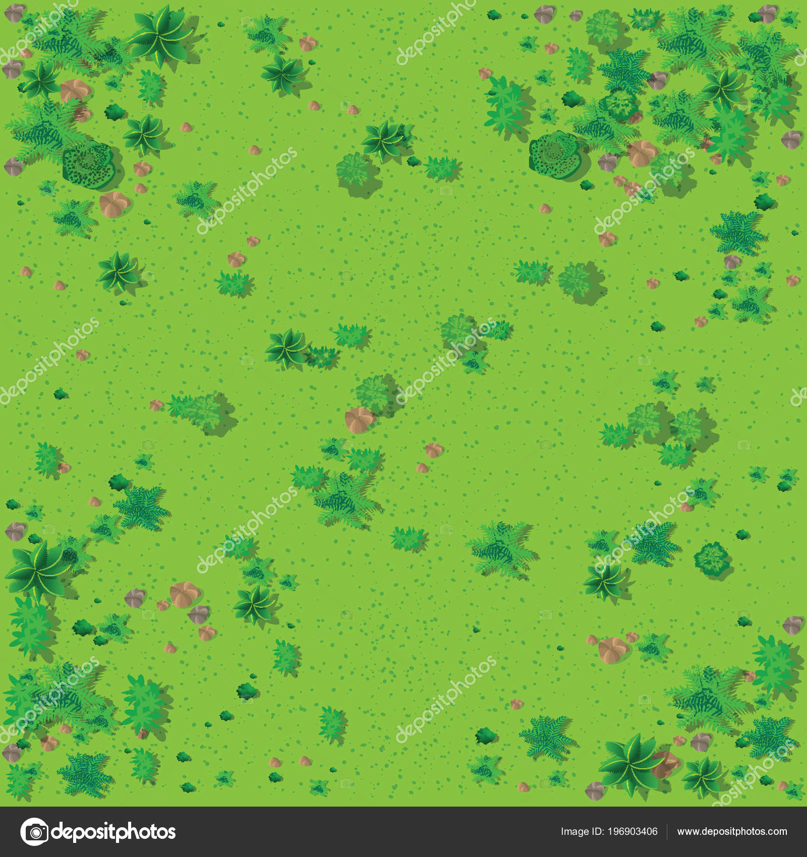 Top View Countryside Forest Grass Stones Trees — Stock