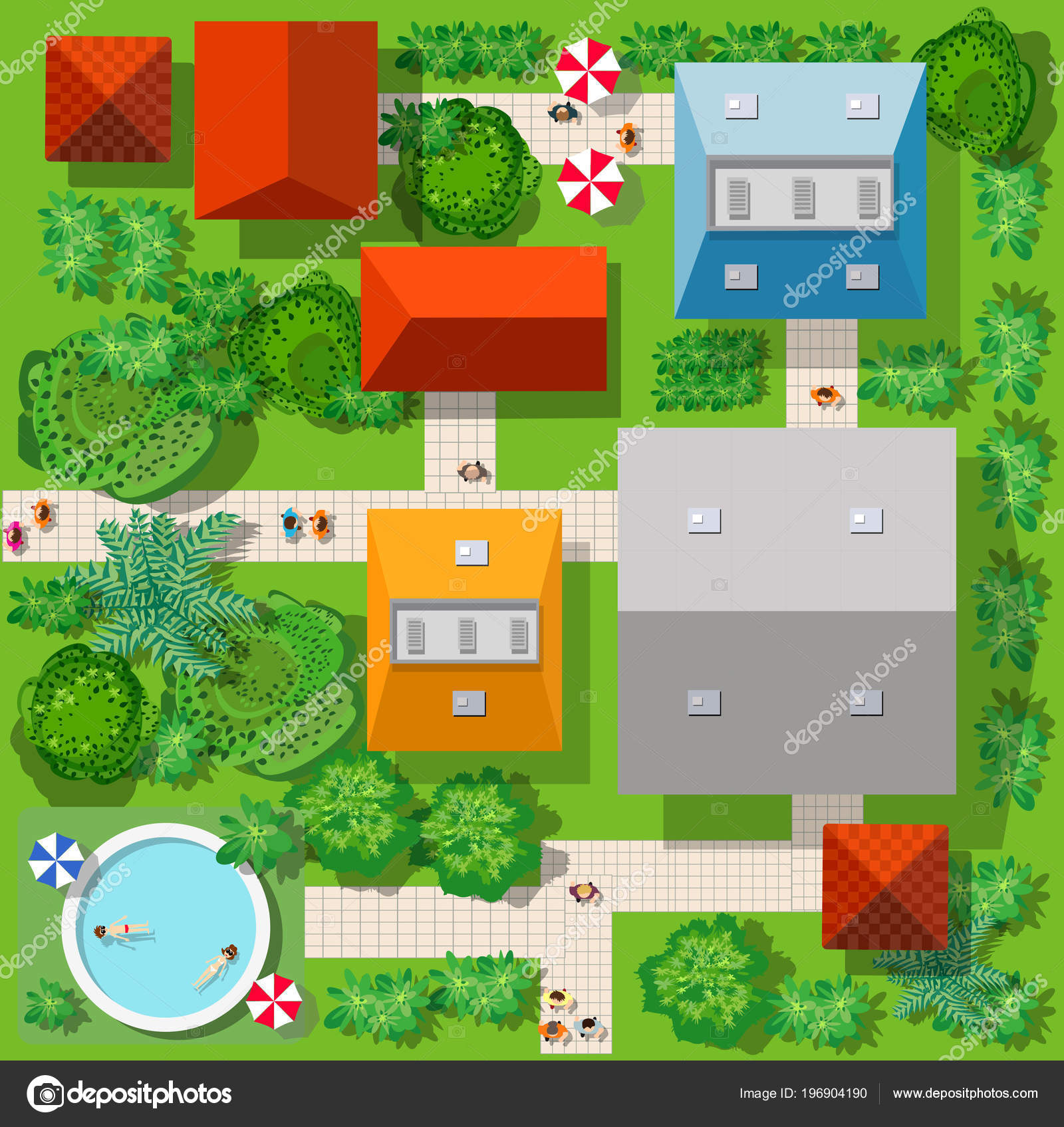 Top View Colorful City Road Roofs Houses Streets Trees — Stock