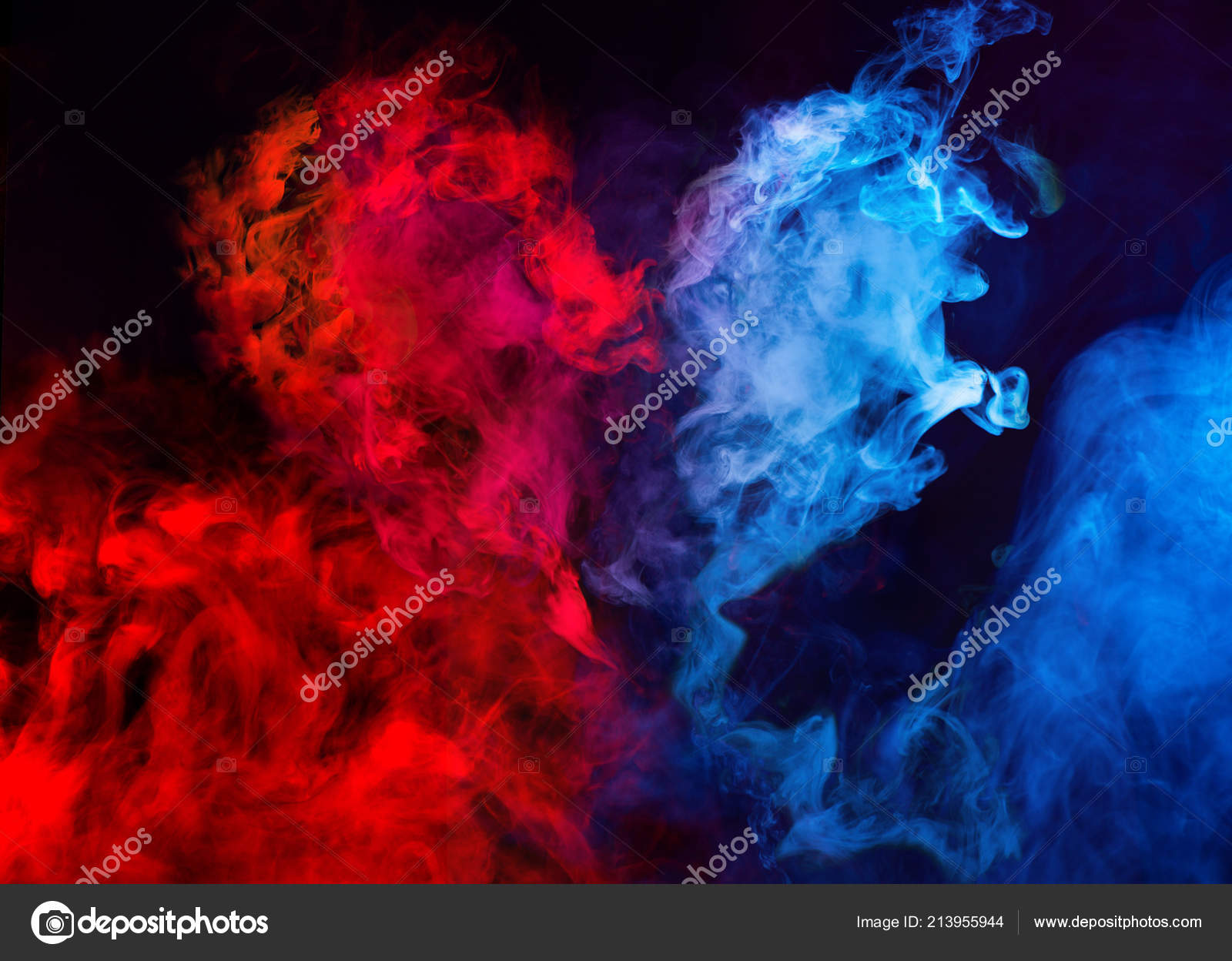 Abstract Shapes Red Blue Smoke Heart Shape Dark Background