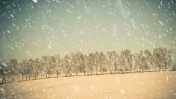 winter season snowfall with hill trees on horizon background