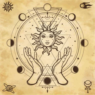 Mystical drawing: human hands hold the sun. Circle of a phase of the moon. Sacred geometry. Alchemy, magic, esoteric, occultism.  Background - imitation of old paper. Vector Illustration.
