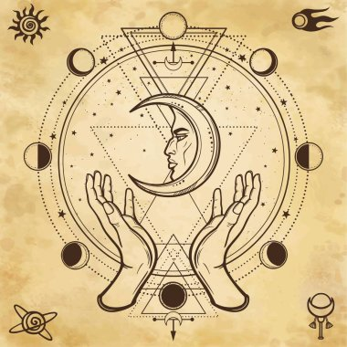 Mystical drawing: human hands hold the moon. Sacred geometry. Alchemy, magic, esoteric, occultism. Background - imitation of old paper. Vector Illustration.