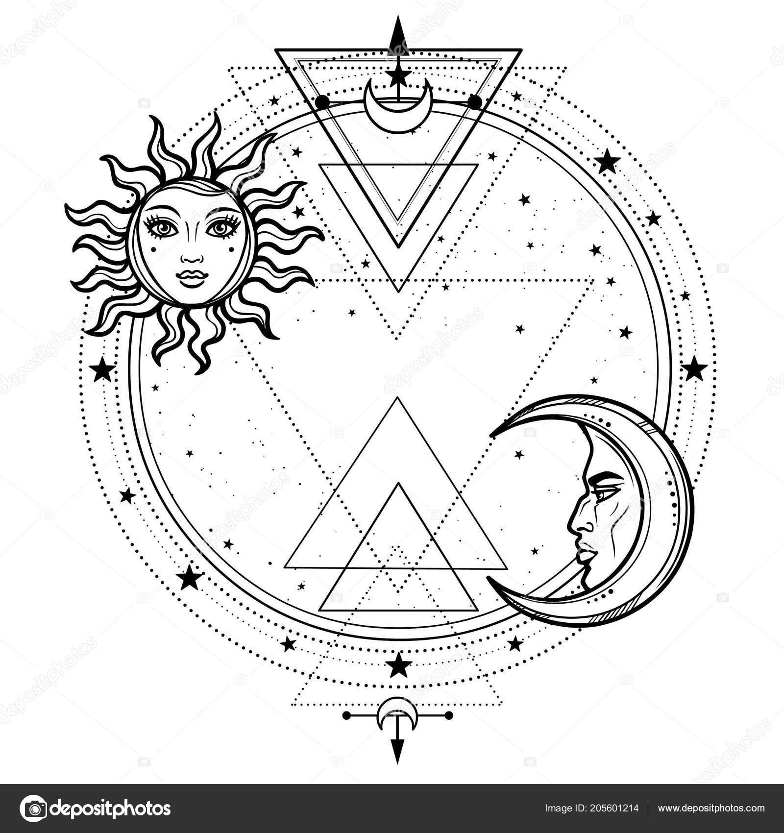 Dessin mystique soleil lune avec des visages humains cercle toile image vectorielle roomyana - Dessin de lune et soleil ...