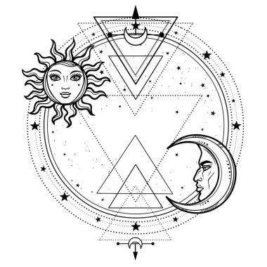 Mystical drawing: sun and  moon with human faces, a star circle. The place for the text. Sacred geometry. Vector illustration isolated on a white background. Print, potser, t-shirt, card.