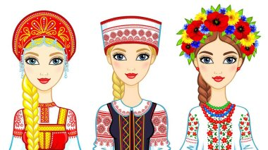 Set of animation portraits of Slavic girls in traditional suits. Russia, Belarus, Ukraine. Vector illustration isolated on a white background.