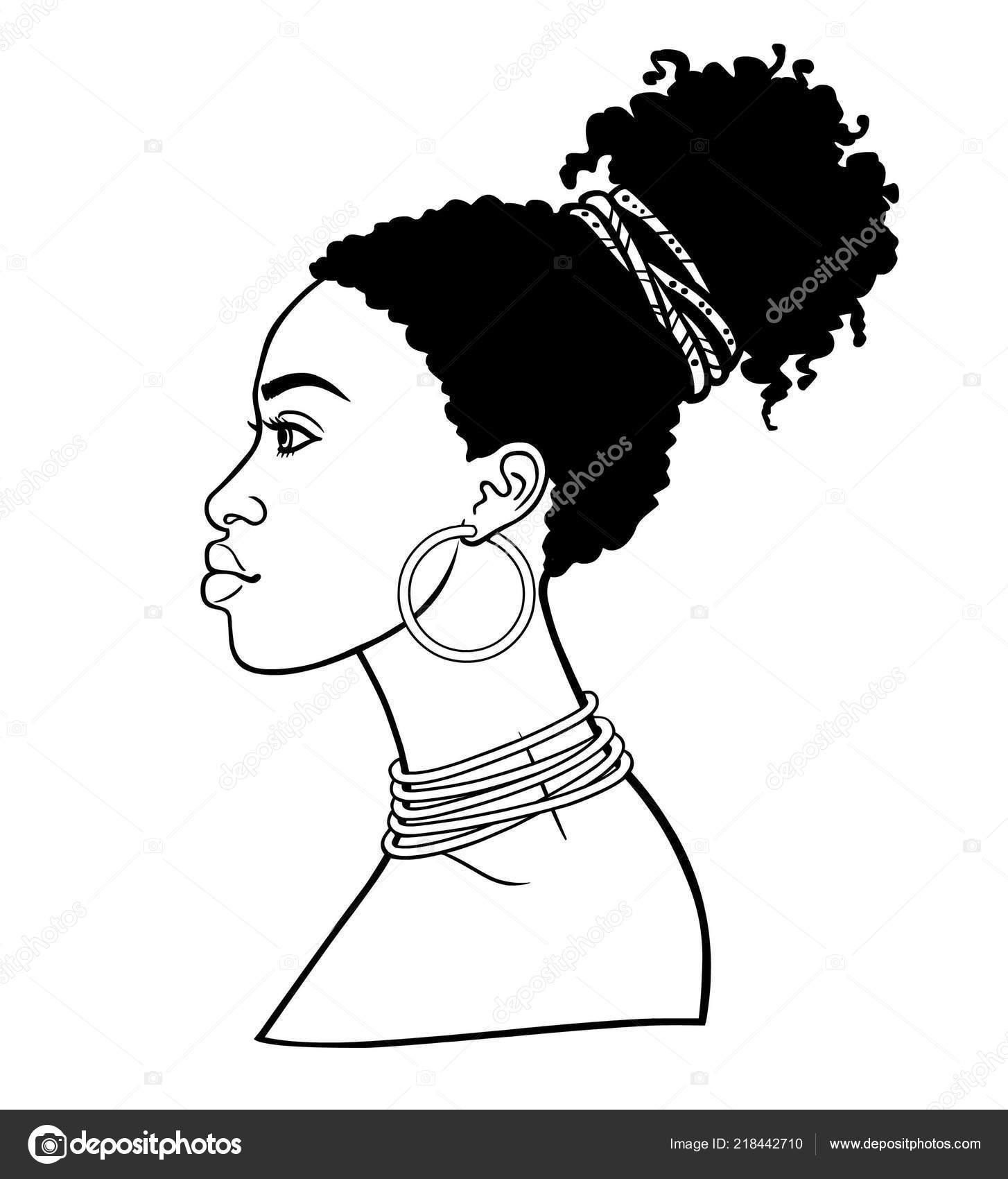 Animaci Portret Mlade Africke Zeny Zobrazeni Profilu Cernobile