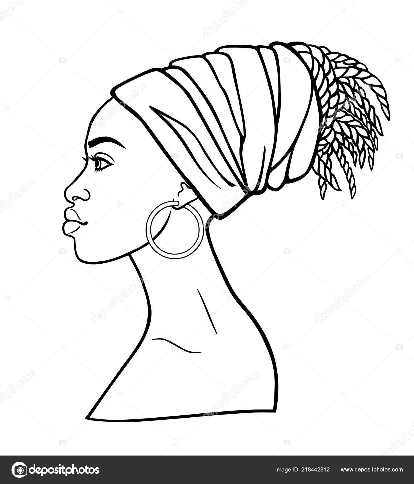 Animation Portrait Young African Woman Turban Profile View