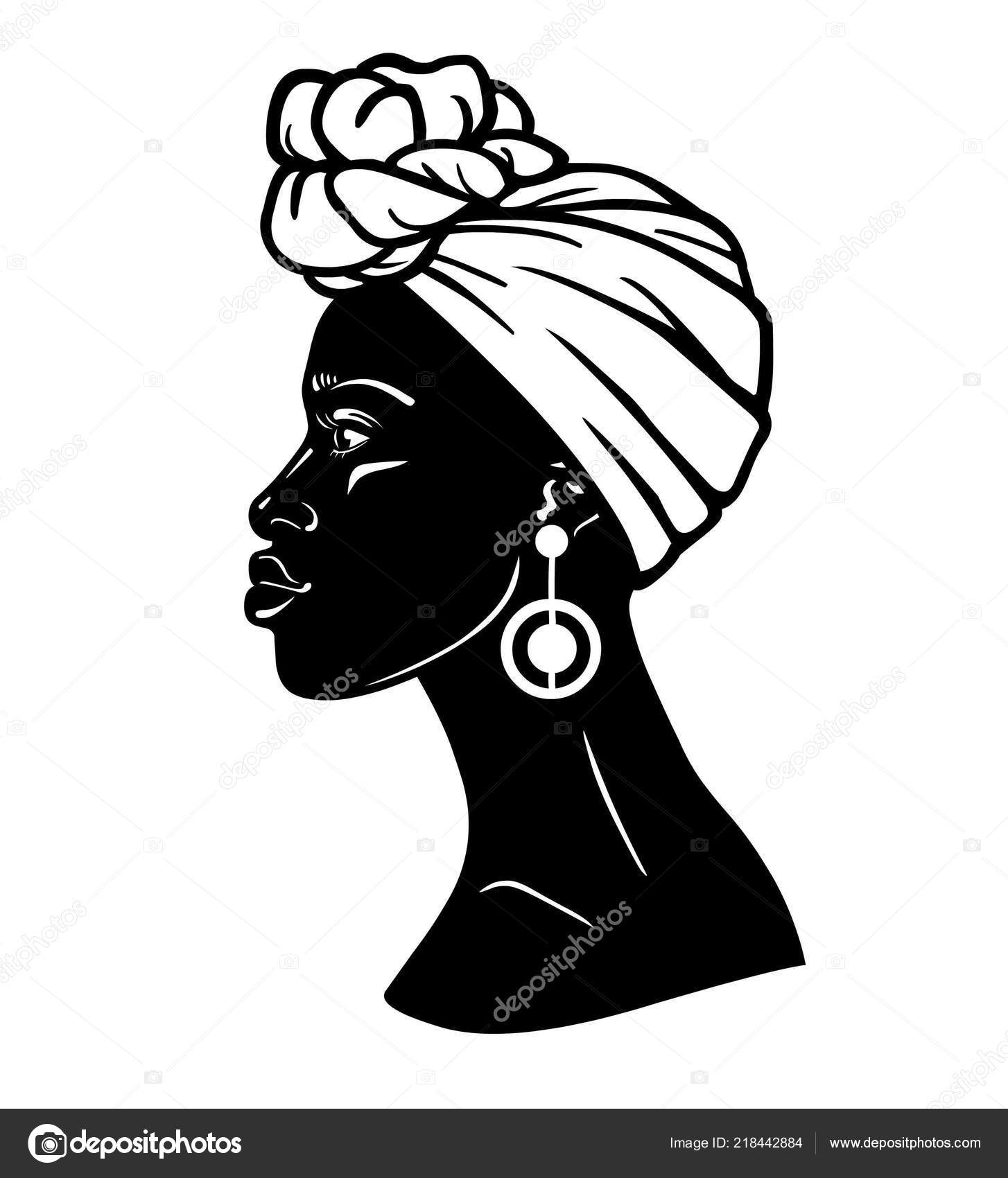 Dessin De Femme Africaine portrait animation jeune femme africaine dans turban vue profil