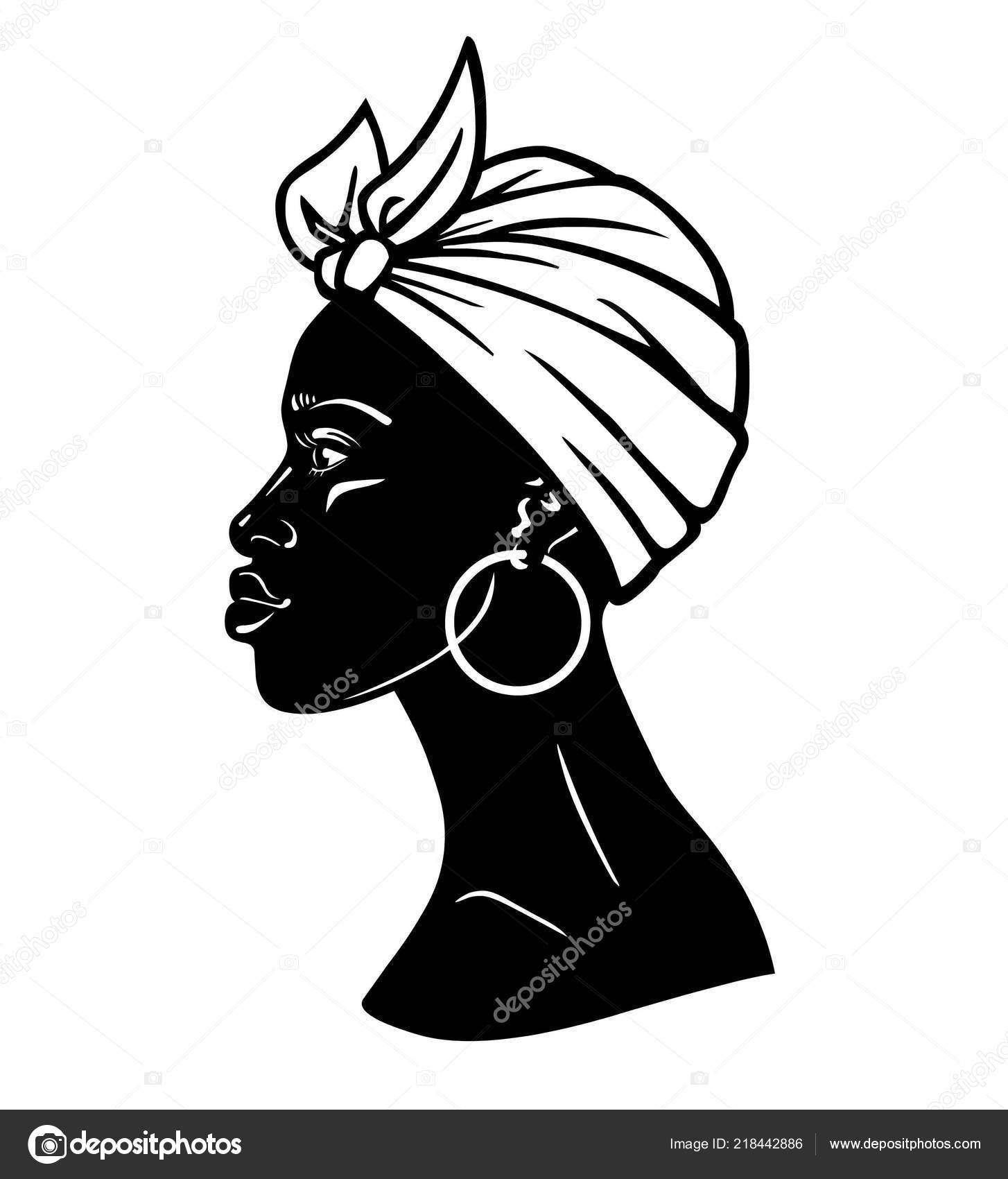 Portrait Animation Jeune Femme Africaine Dans Turban Vue Profil