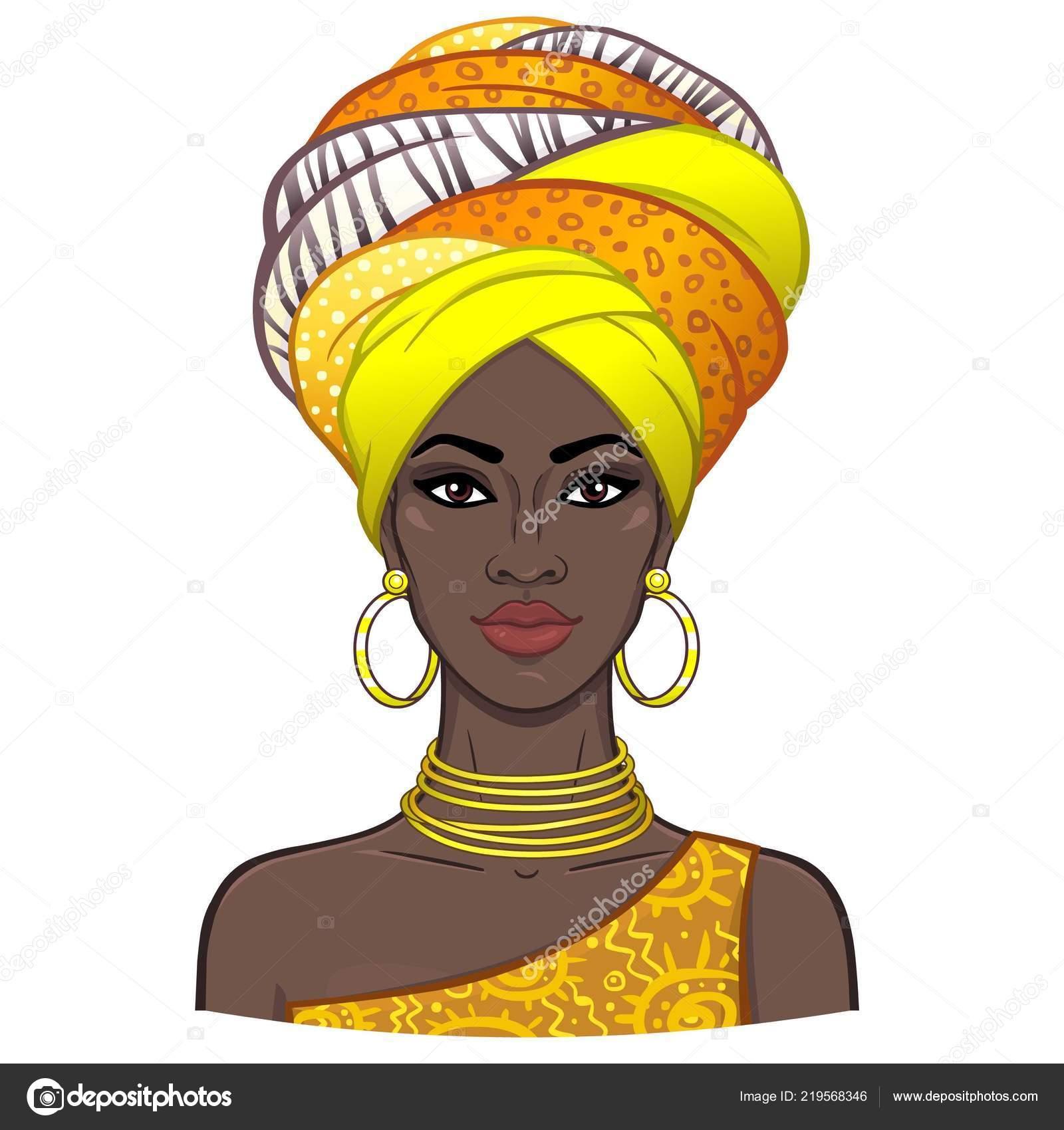 Portrait animation belle jeune femme africaine dans turban couleur dessin image vectorielle - Dessin africaine ...