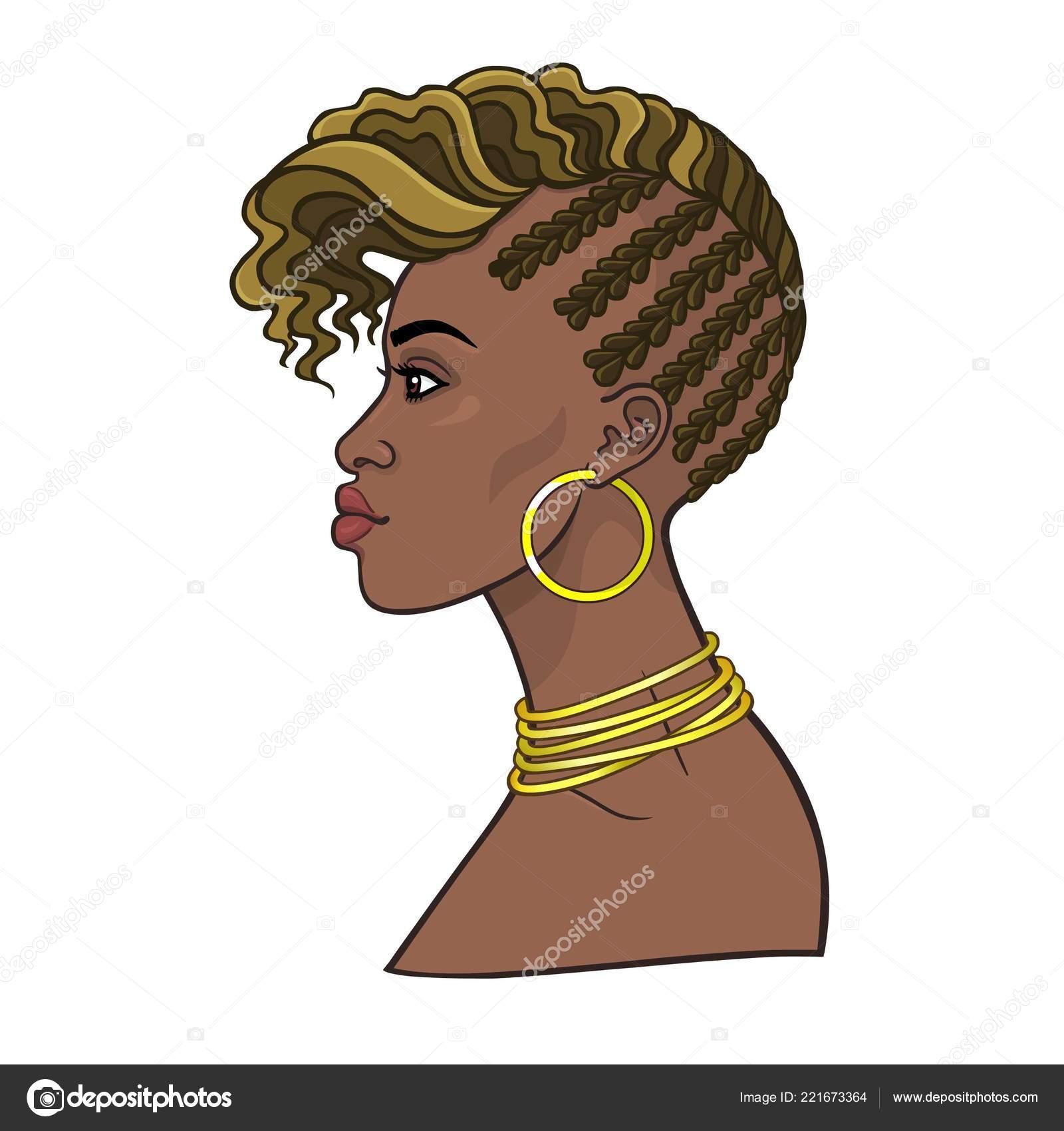 Animaci Portret Mlade Africke Zeny Zobrazeni Profilu Barva Kresby