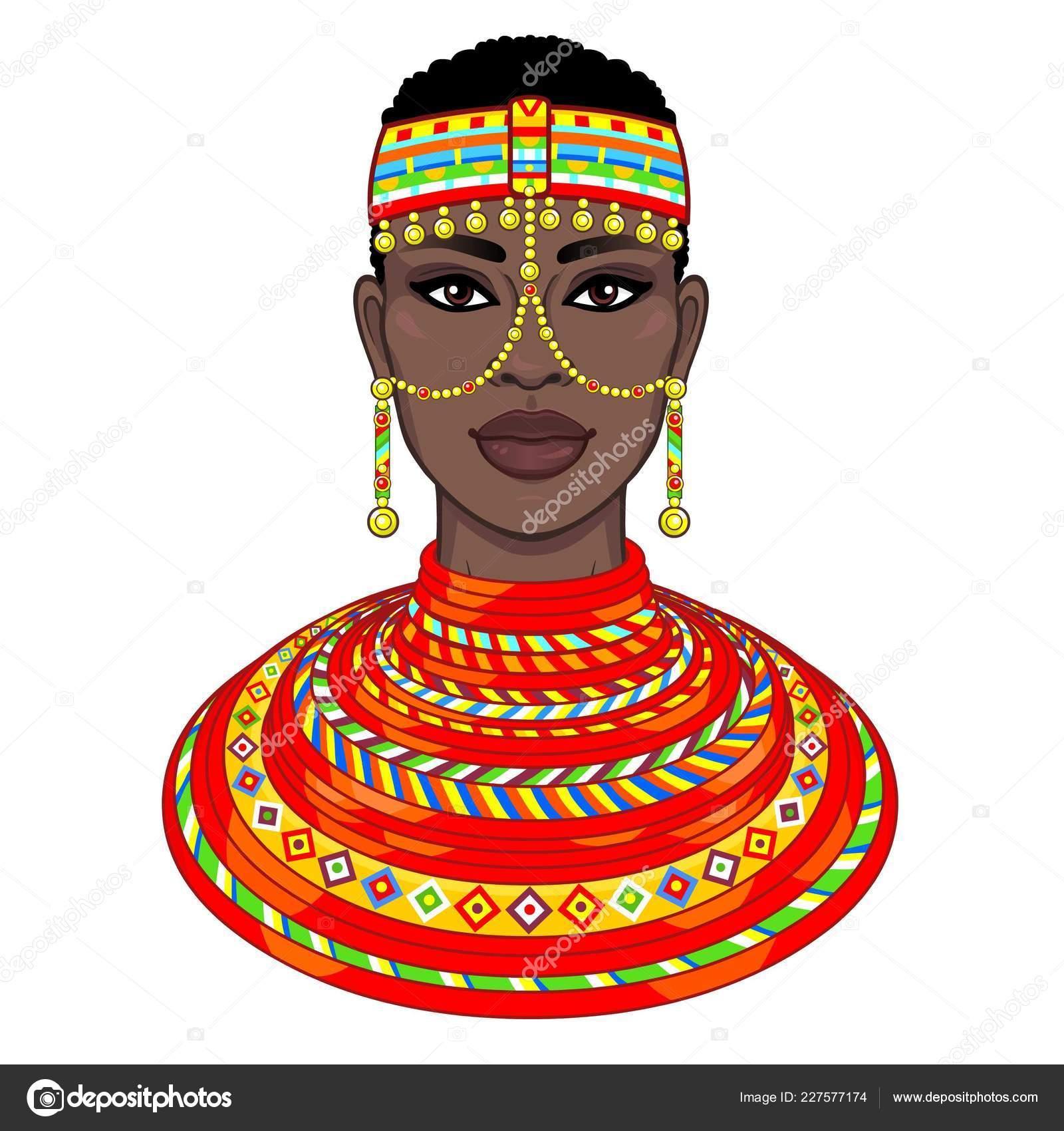 Dessin De Femme Africaine portrait animation belle femme africaine bijoux vêtements anciens