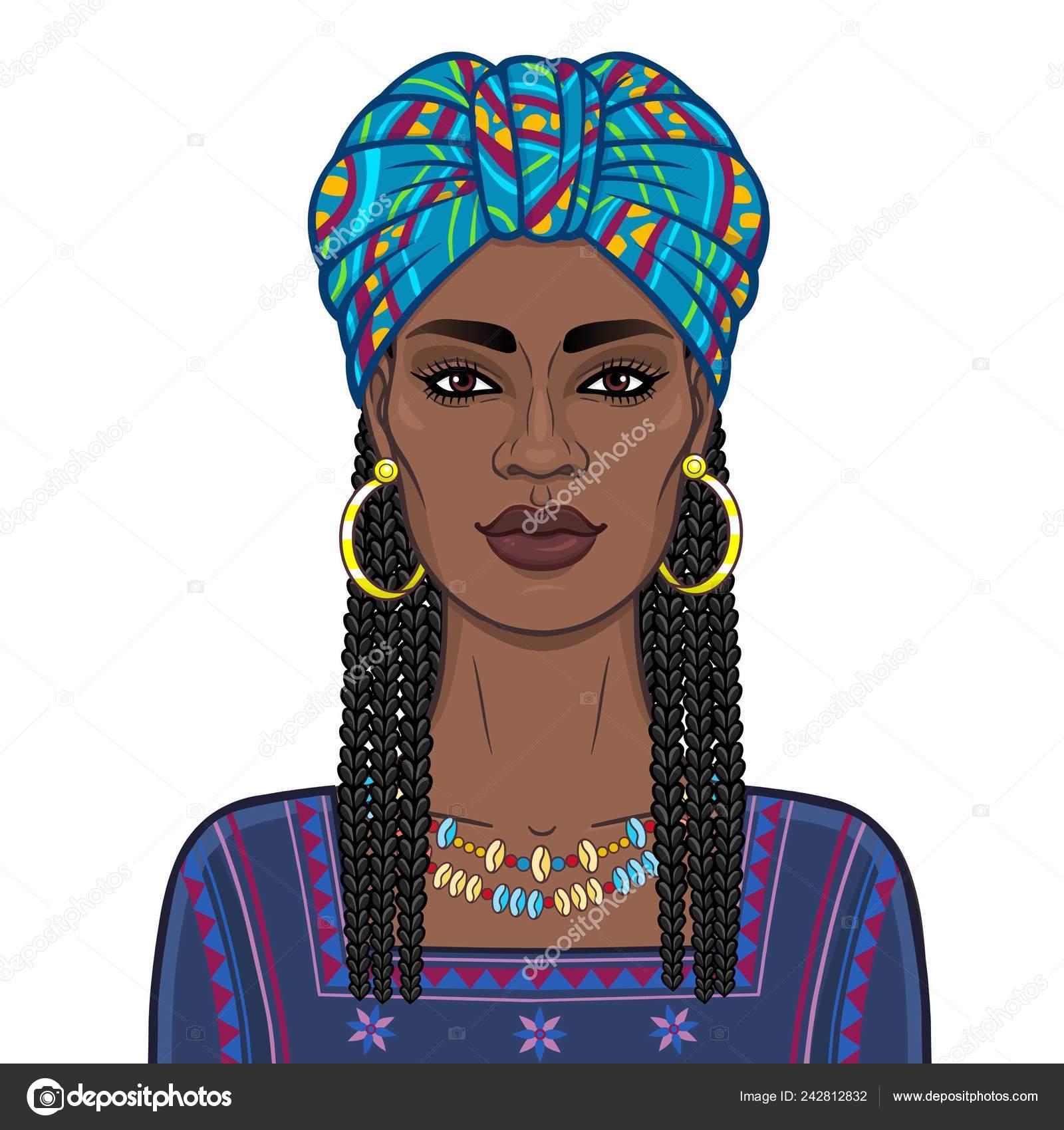 Portrait Animation Belle Femme Noire Dans Turban Lumineux