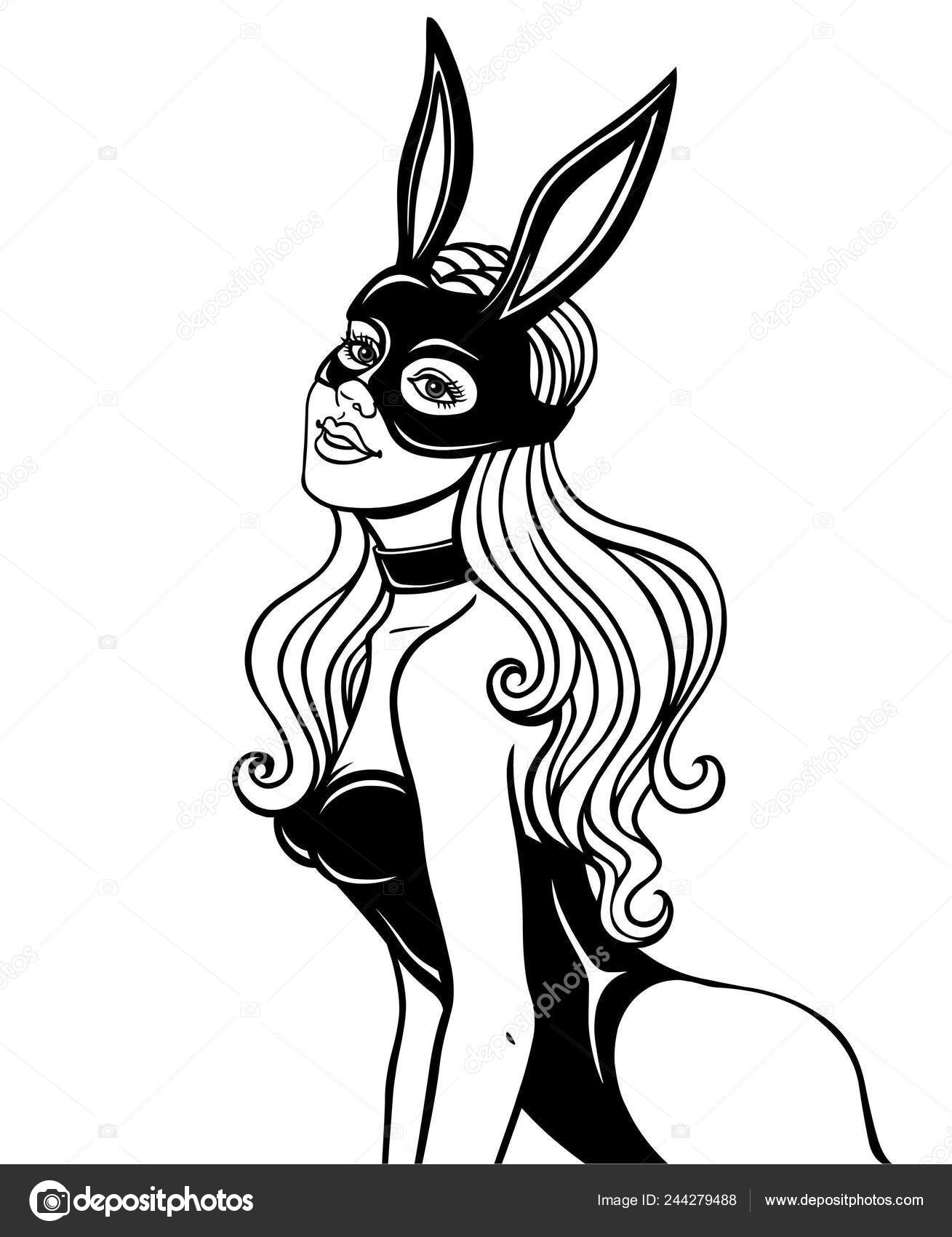 Animation Portrait Beautiful Girl Mask Rabbit Monochrome ...