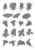 egy sor rajzok virágok vektoros illusztráció