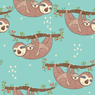 Seamless pattern. Vector sloth mom and baby clip art vector