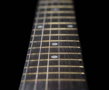 Very Nice closeup of a acoustic Guitar fretboard on Black