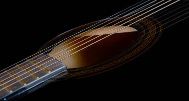 Beautiful Sound Hole,Fret Board and strings Of a Acoustic Guitar