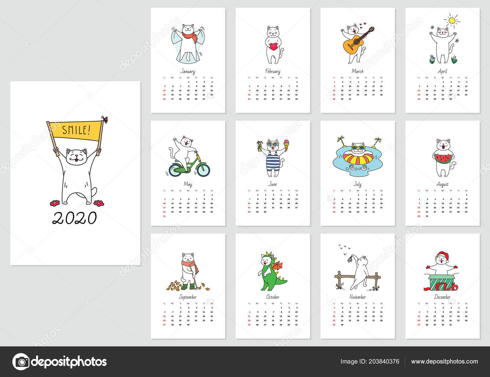 Calendrier Chat 2020.Modele Calendrier 2020 Mensuel Avec Chat Drole Beneficiant