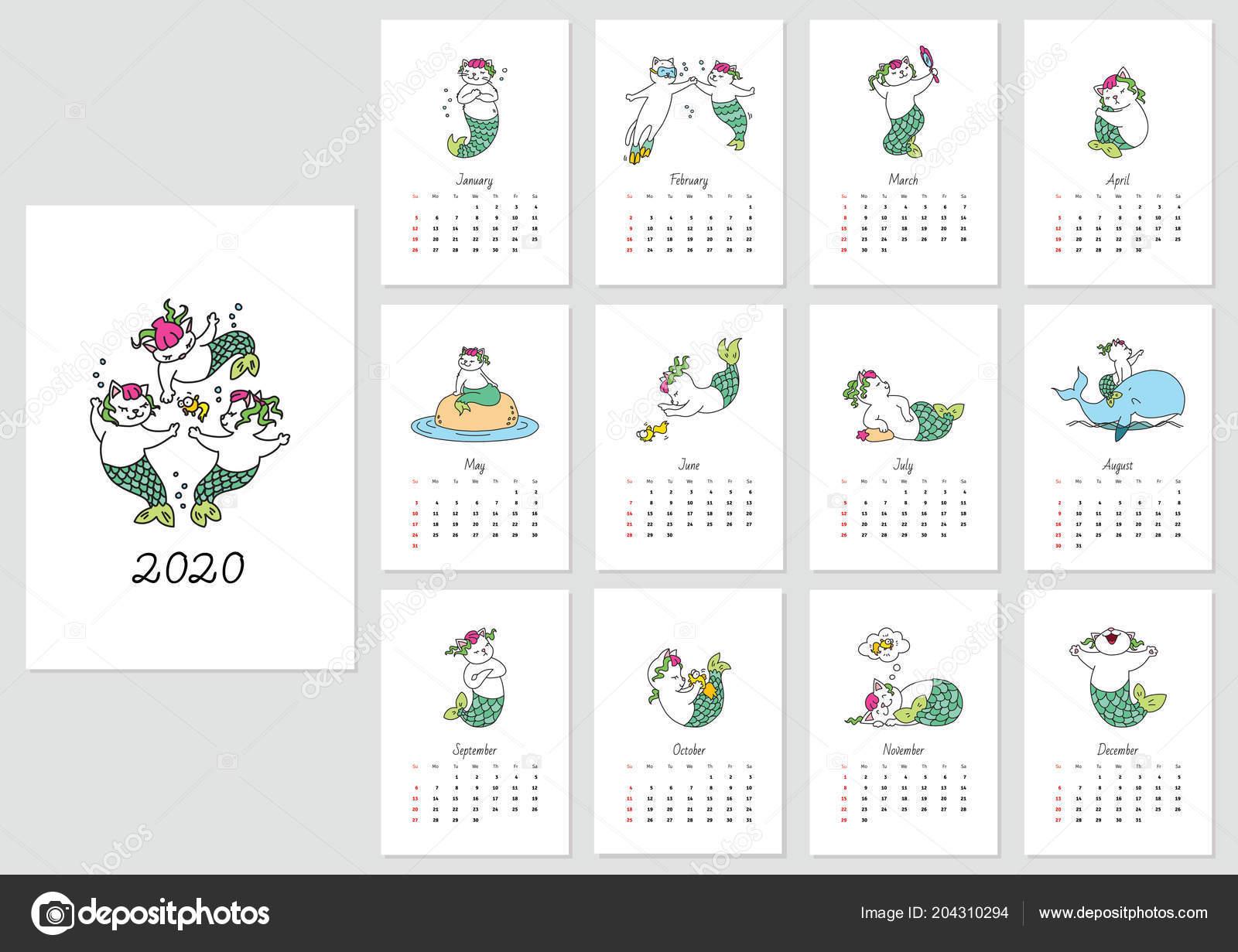 Monthly Calendar 2020 Template Cute Cat Mermaids Vector Illustration