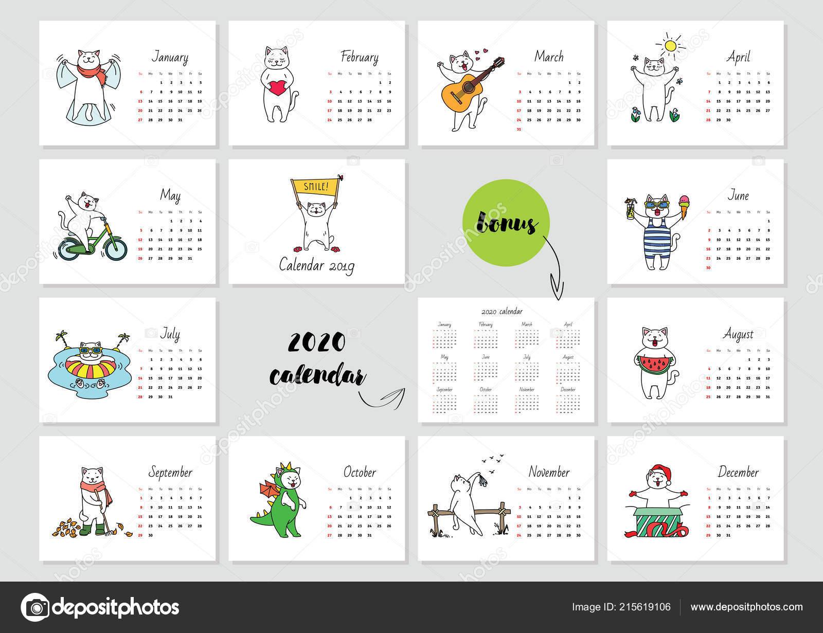 Modele De Calendrier 2020.Smile Modele Calendrier 2019 Mensuel Avec Joli Chat Blanc