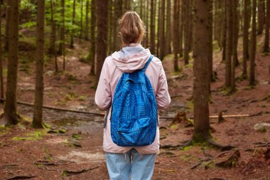 Back view of slim athletic tourist hiker girl withblue backpack walking through mountain pine forest. Female spending time in open air. Tourism, traveling, hiking and healthy lifestyle concept.