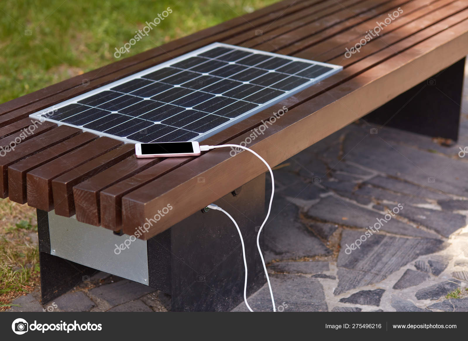 Swell Outdoor Shot Of Bench With Smart Phone Being Charged Via Usb Pdpeps Interior Chair Design Pdpepsorg
