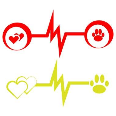 ECG symbols with dog paw on white background. Vector illustration.  Set of vet symbols.