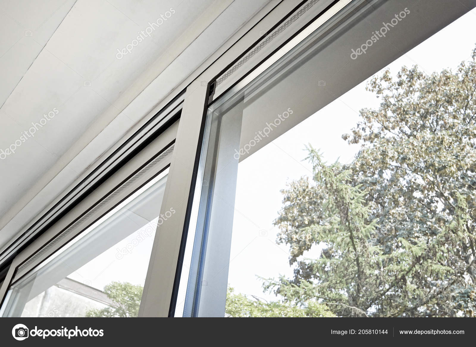 Sliding Glass Door His Ventilation System Painting Wall Stock