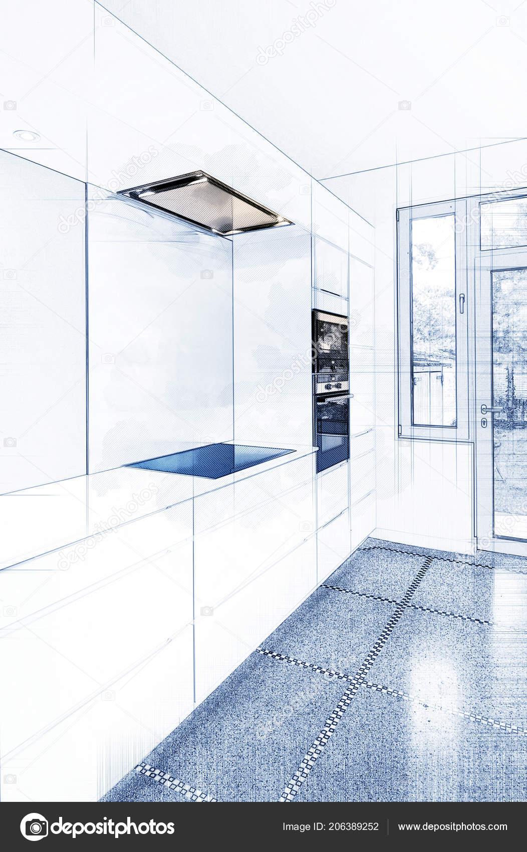 Sketch stylish modern kitchen interior perspective stock photo