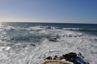 The beautiful Seaside caves Beach Pafos in Cyprus