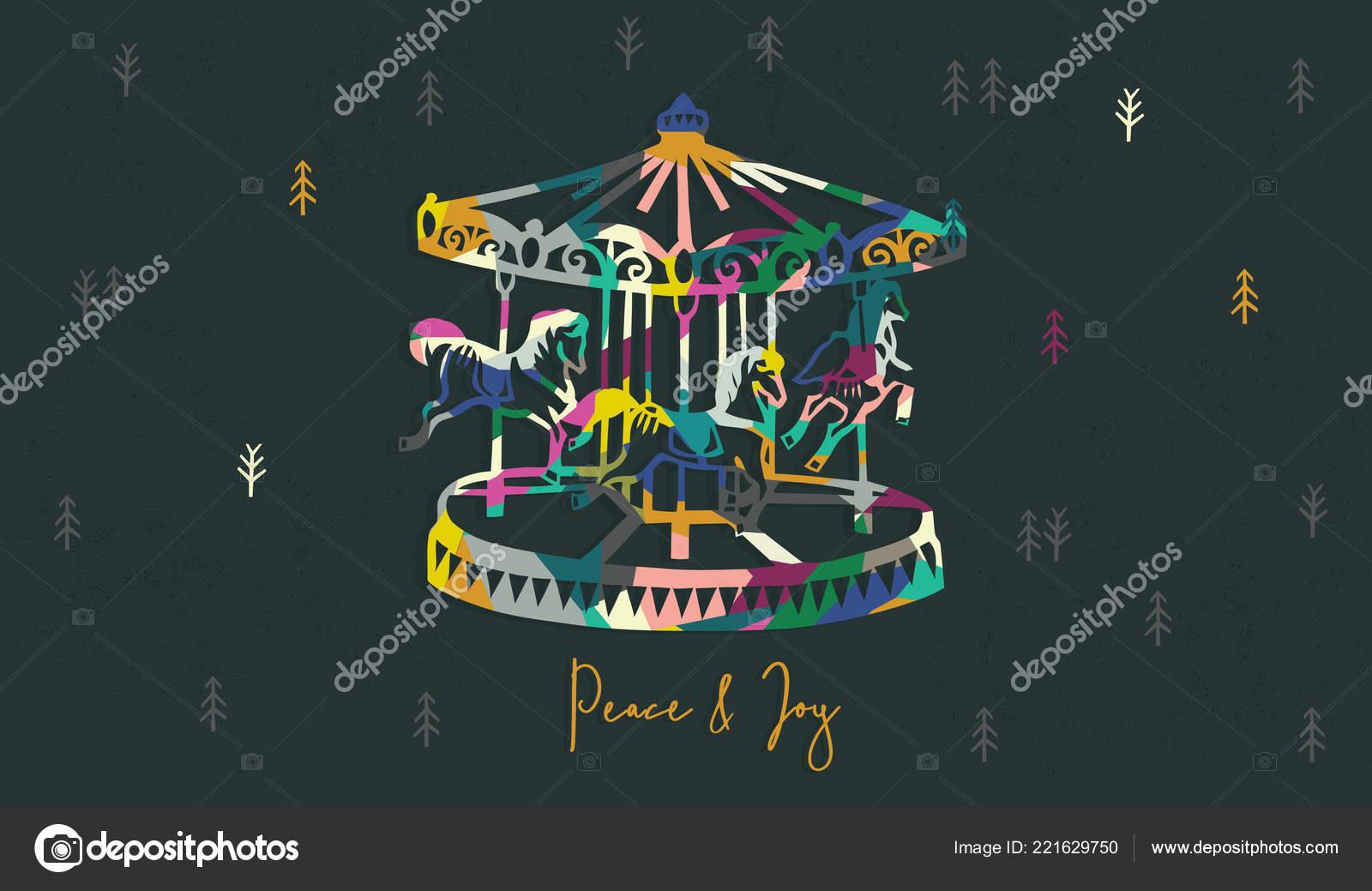 Weihnachtsgrüße Vorlage.Karussell Weihnachtsgrüße Vorlage Vektor Illustration Stockvektor