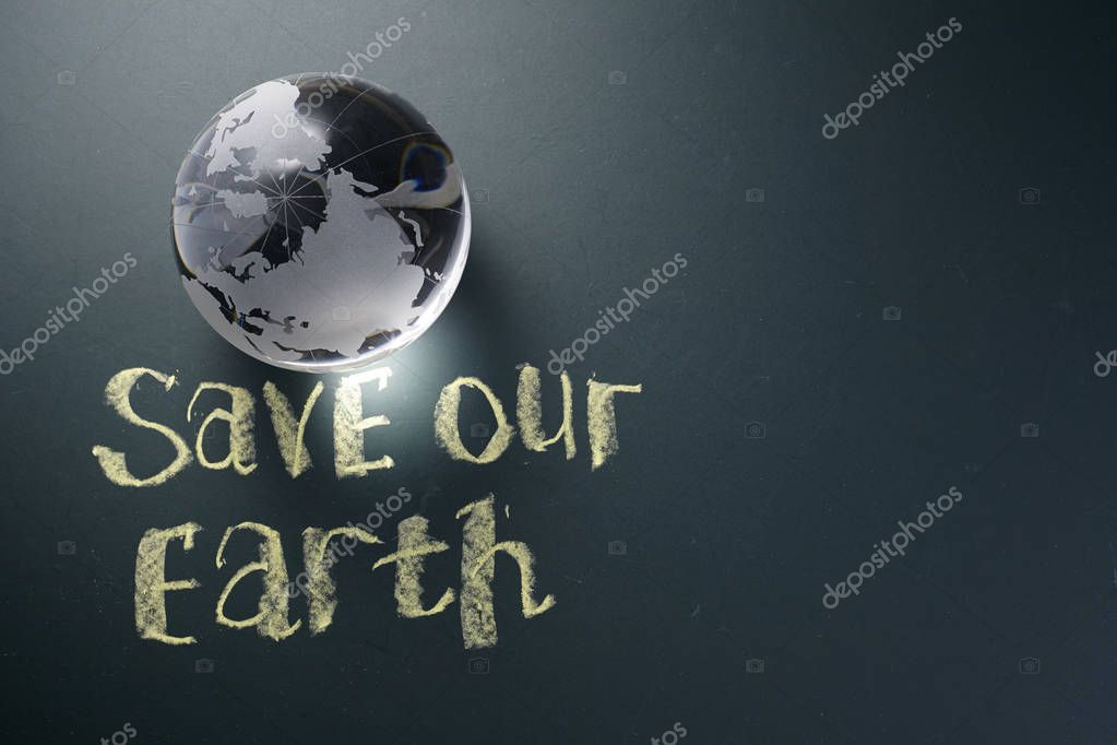 save the earth concept on blackboard