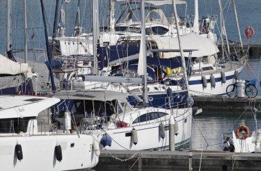 Italy, Sicily, Mediterranean sea, Marina di Ragusa; 5 September 2018, sailing boats in the port - EDITORIAL