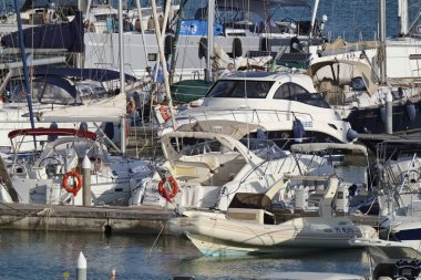 Italy, Sicily, Mediterranean sea, Marina di Ragusa; 14 September 2018, motorg boats and luxury yachts in the port - EDITORIAL