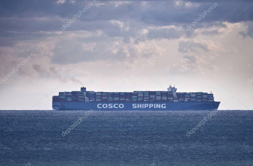 Italy, Sicily, Mediterranean sea; 27 September 2018, Cargo ship - EDITORIAL