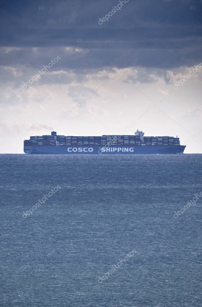 Italy, Sicily, Mediterranean sea; 27 September 2018, Cargo ship - EDITORIAL