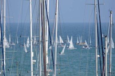 Italy, Sicily, Mediterranean sea, Marina di Ragusa; 8 March 2019, sailing boat masts in the marina and sailing dinghies - EDITORIAL