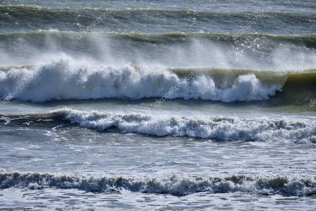 Italy, Sicily Channel, rough Mediterranean sea in winter