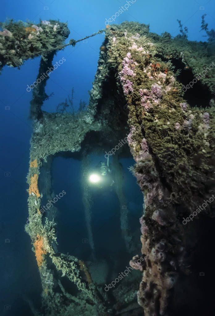 Montenegro, Adriatic Sea, U.W. photo, wreck diving, sunken ship - FILM SCAN