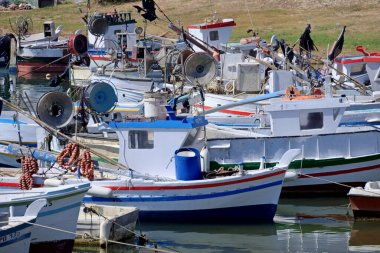 Italy, Sicily, Scoglitti (Ragusa Province), 18 June 2020, sicilian wooden fishing boats in the port - EDITORIAL