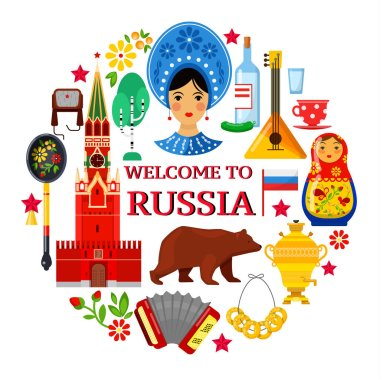Russian attributes on white backgrounds