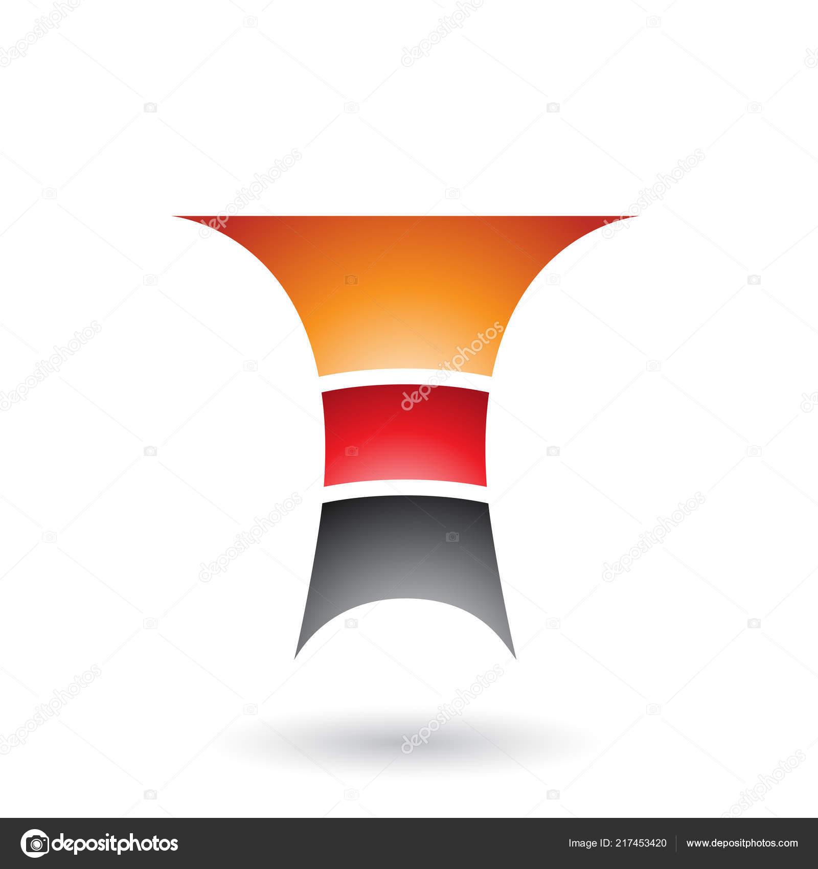 Illustrazione Vettoriale Orange Lettera Con Tre Strati Isolato