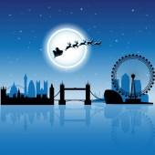 Vektorové ilustrace Santa v londýnské přes modré noční obloha