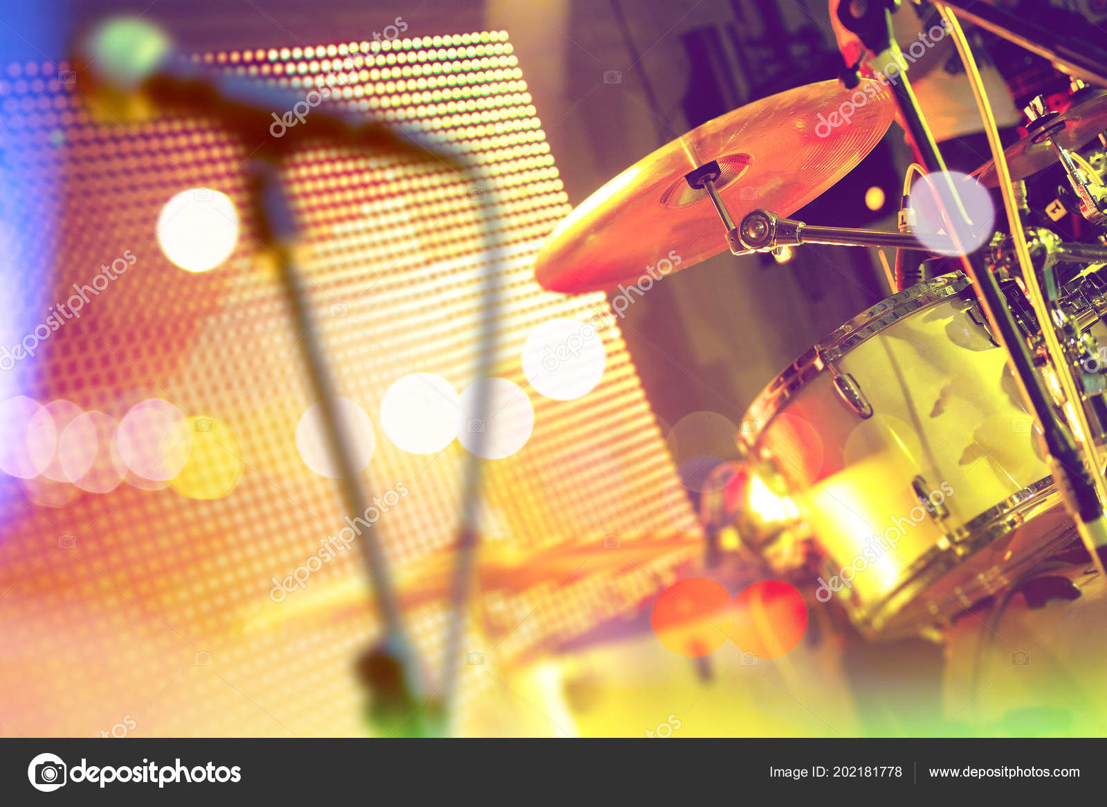 Live Music Background Drumset Stage Concert Show