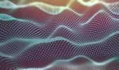Wissenschaft und Technologie Konzept.Punkte und Wellen. abstrakte Maschen- und Strukturhintergrund.3D-Illustration.