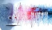 Fotografia illustrazione 3D. Doppio disegno di esposizione. Donna e uomo daffari. Ricerca e sviluppo. Concept.Network tecnologia e business e comunicazione globale